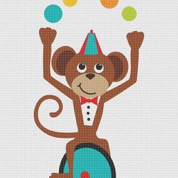 Contemporary Circus Monkey Riding Unicycle Hand Embroidery Pattern