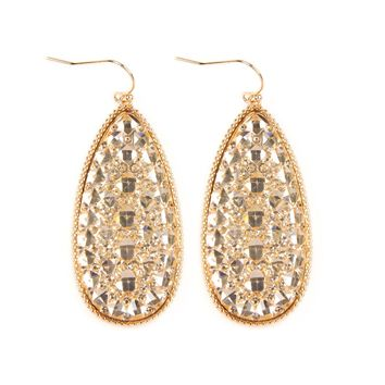 Druzy Faceted Teardrop Earrings
