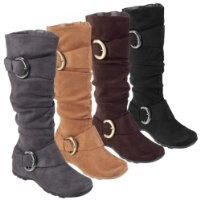 Journee Collection Womens Regular Sized and Wide-Calf Slouch Buckle Knee-High Microsuede Boot Black 6