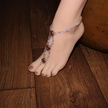 bb39f2cc643 Barefoot Sandal Pink Rhinestone Crystal Foot Jewelry Beach We.