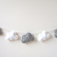 Cloud Garland, White and Grey Clouds, Cloud Banner, Cloud Bunting, nursery decor, photo prop, baby shower gift, new baby, nursery gift