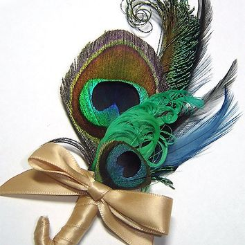 Custom made to order - Pretty Peacock Boutonniere
