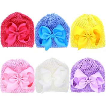 Baby Girl Crochet Hat Toddler Beanie with Bow Photography Prop Baby Shower Gift Knit Cap Ribbon Bow Hat 1pc H827