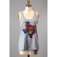 Floral Texas Tank Top, Heather Grey