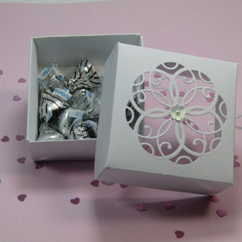 12 White Wedding Favor Boxes - Candy Box -Treat Box - Bridal Shower /Bridesmaids /-Favor Boxes –Mother's Day-Party Favor- Birthday Party Box