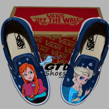 Hand Painted Vans. Frozen Anna, Elsa, and Olaf. Frozen themed. Handpainted shoes