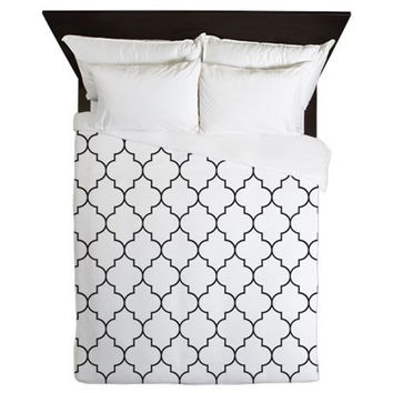 Duvet Cover - Black and White Duvet Cover - Quatrefoil Duvet Cover - Black and White Quatrefoil - Black Duvet Cover - Black Bedding - Black