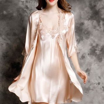 Ladies Silk Nightgown Set