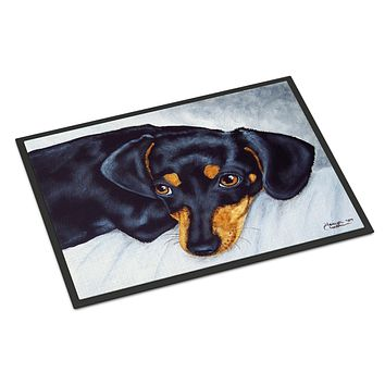 Black and Tan Doxie Dachshund Indoor or Outdoor Mat 18x27 AMB1079MAT