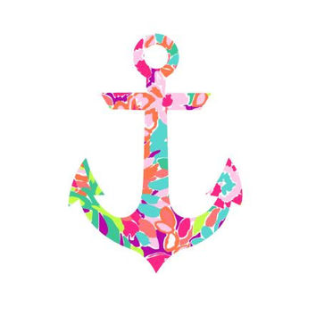 Anchor Lilly Pulitzer  Decal, Lilly Inspired Decal Monogram, Lilly Pulitzer Decal, Lilly car decal, Lilly Pulitzer Yeti decal Custom Decal