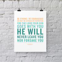Bible Verse Art - Deuteronomy 31:6 - Scripture Print