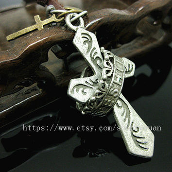 leather necklace with maple leaf pendant women leather necklace men leather necklace  P010