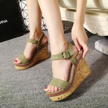 Buckled Wedge Sandals For Girls