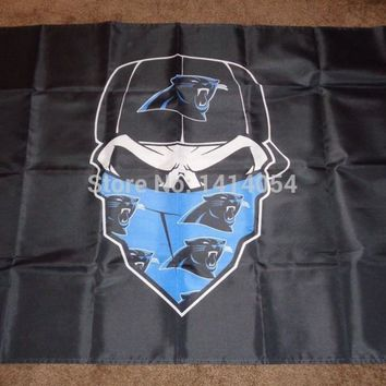 Carolina Panthers  Skull mask  Flag  Flag 150X90CM Banner 100D Polyester flag brass grommets 001, free shipping