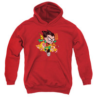 TEEN TITANS GO/ROBIN-YOUTH PULL-OVER HOODIE-RED
