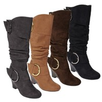 Journee Collection Womens Buckle Slouch Wedge Knee-High Boot