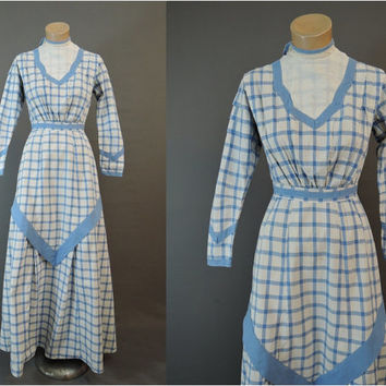 Edwardian 1900s Dress, Blue & White Plaid Cotton, Wearable 32 inch bust, Antique Day Dress