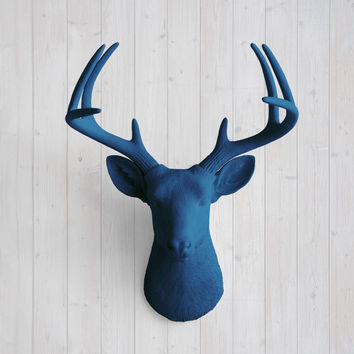 The Virginia Large Navy Blue Faux Taxidermy Resin Deer Head Wall Mount | Navy Blue Stag w/ Colored Antlers