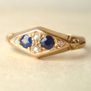 Art Deco Sapphire Ring, Antique Engagement Ring, Old Cut Diamond 18k Gold Ring, Sapphire and 18 Carat Gold Wedding Ring Approx. Size US 7