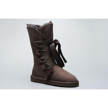 LFMON UGG 1005818 Tall Lace-Up Women Fashion Casual Wool Winter Snow Boots Chocolate