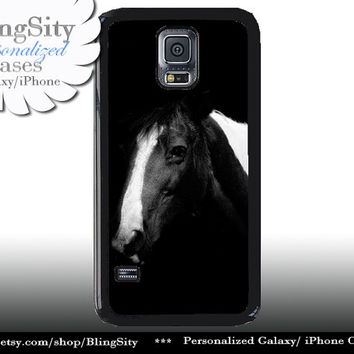 Horse Head S5 Case Equine Black White Horse Galaxy S4 Case S3 Cover Note 2 3 4 Shell Cover Skin Bumper Photo