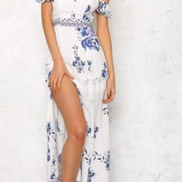 Summer Rescue White Blue Floral Off The Shoulder Side Slit Casual Maxi Dress