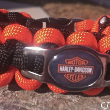 HARLEY DAVIDSON SS Shoelace Charm Survival Band or Paracord Bracelet