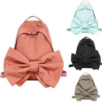 Girl Women Lolita Bow tie Style Designer Solid Color Nylon Backpack Rucksack Mochila Travel Day Pack