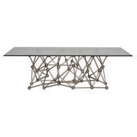 Molecule Silver Leaf Dining Table 72""