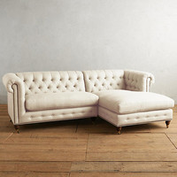 Belgian Linen Lyre Chesterfield Right Sectional, Hickory