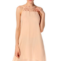 Apricot Strappy Halter Neck Chiffon Mini Dress