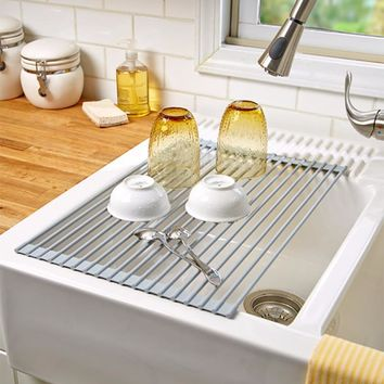Dish Rack Roll-Up Over the Sink Drainer Space Saver Vegetable Dry Stainless