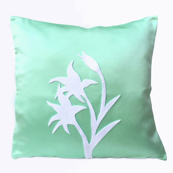 Summer Lilies Mint And White Pillow Cover. Modern Floral Decorative Cushion Cover. Housewarming Gift
