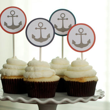 Nautical Baby Shower Cupcake Topper, Anchor Toppers