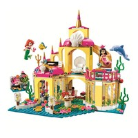 Princess Mermaid Ariel Undersea Palace Buildable Royal Celebration Boat Building Block Compatible with Legoe 41063 Kids Toys