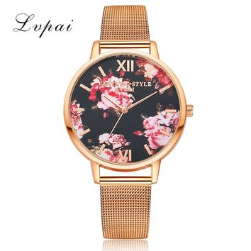 LVPAI Stainless Steel Flower Watches Women Fashion Watch 2017 Dress Women Analog Quartz Watch for Ladies Clock Gift Relogio