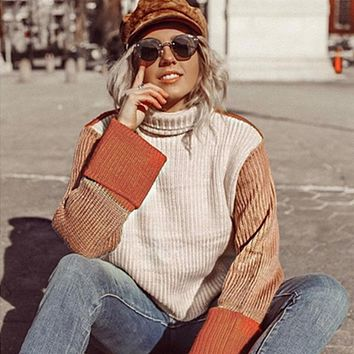 Slouchy Turtleneck Colorblock Knit Sweater