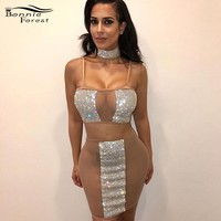 Bonnie Forest Glitter Women Sequin Patchwork Two Piece Set Dress Sexy Sling Bodycon Mini Party Dresses Clubwear Birthday Outfits