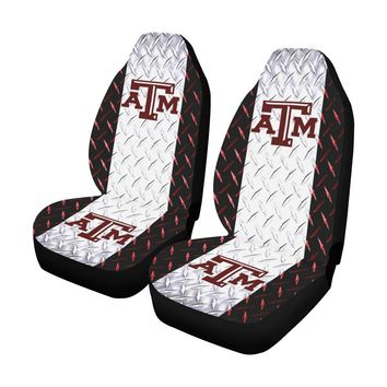 College Station University Diamond Plate Car Seat Covers (Set of 2)