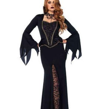 ESBI7E 2PC.Evil Enchantress,dress w/lace bodice,horn headband in BLACK