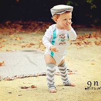 BOYS FIRST BIRTHDAY Outfit-Boys Birthday Bodysuit with Gray Chevron 1, aqua suspenders with gray and white chevron crawlers