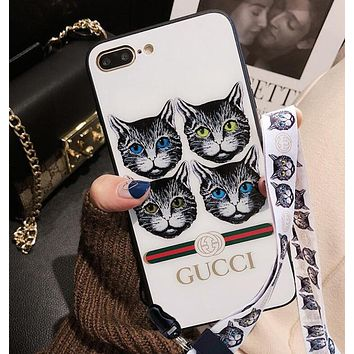 Gucci New Stylish Trending Stylish iPhone 6 plus Lovely Four Cat Pattern iPhone X Glass Protective iPhone Shell Lovers Phone Case+Mobile Phone Hang Rope