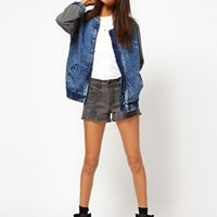 Denim Bomber Jacket with Jersey Sleeves