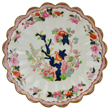 Blue White and Pink Serving Bowl Antique English 19th Century