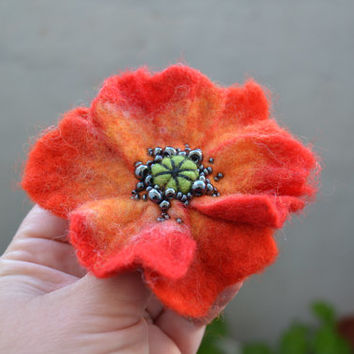 Fire Orange and Yellow Poppy Wool Felted Flower Pin, Whimsical Flower Brooch, Floral Statement Accessory, Poppy Pin Brooch, Corsage Brooch