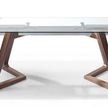 Delta Extendable Dining Table 10mm Tempered Clear Glass Top