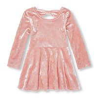 Toddler Girls Long Sleeve Velour Cutout Back Dress | The Children's Place