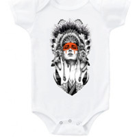 Boho baby Native American girl with feather headdress graphic short or long sleeve bodysuit or toddler t shirt top