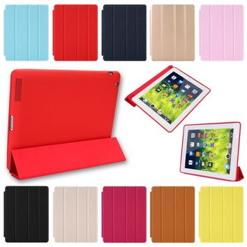 Case For iPad 2 3 4 Magnetic Leather Smart Cover for Apple iPad 4th Generation 3rd Generation 2 with Rubberized Back Case