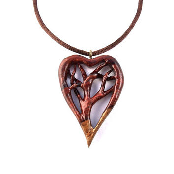 Wood Jewelry, Wooden Heart Pendant, Hand Carved Pendant, Tree of Life Pendant, Wooden Heart Necklace, Tree of Life Necklace, Valentine's Day